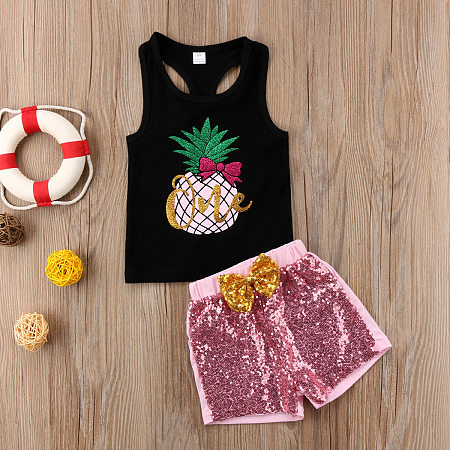 Sequin Pineapple Sleeveless Sets