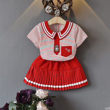 Stripes Doll Callor Pleated Skirt