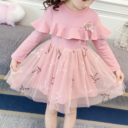 Flower Pattern Ruffle Trim Tulle Dress