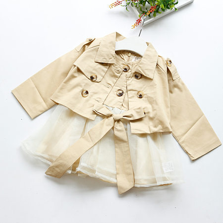 Windbreaker Coat Tulle Dress Sets
