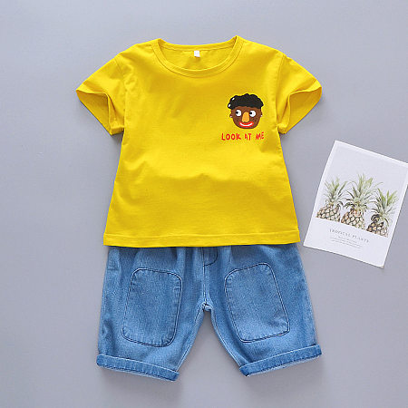 Baby Face Prints Denim Shorts Sets