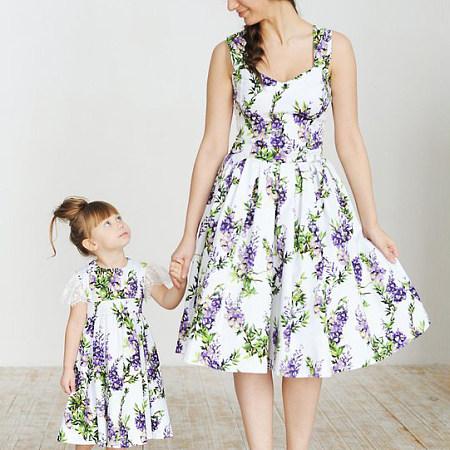 Mom Girl Floral Prints Sleeveless Matching Dress, 7079836