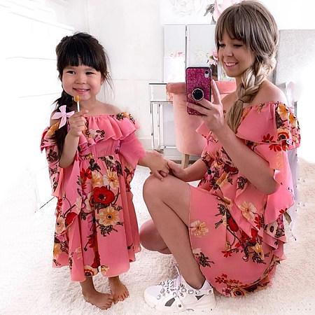 Mom Girl Ruffled Layered Floral Printed Matching Dress, 8213494