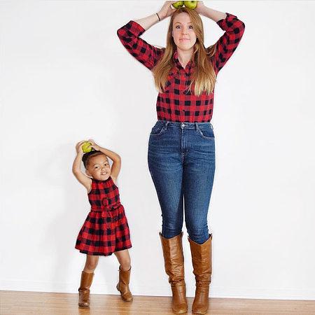 Mom Girl Fashion Plaid Matching Clothes, 8313700