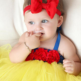 Snow White Tutu Dress Baby Photo Props With Bowknot Headband