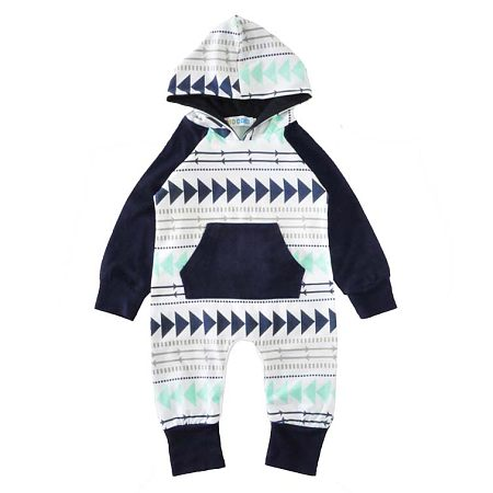 Boys Girls Stripes Triangle Pattern Romper