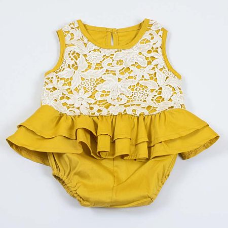 Girls Solid Yellow Lace Flounced Romper
