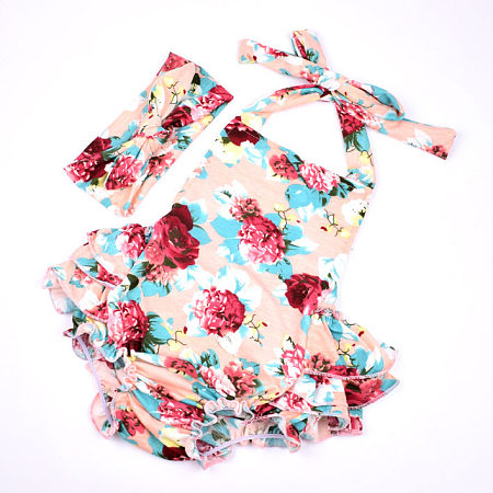Floral Prints Lace-Up Romper With Headband
