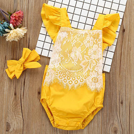 Fly Sleeve Lace Romper With Headband, yellow, RG17080301