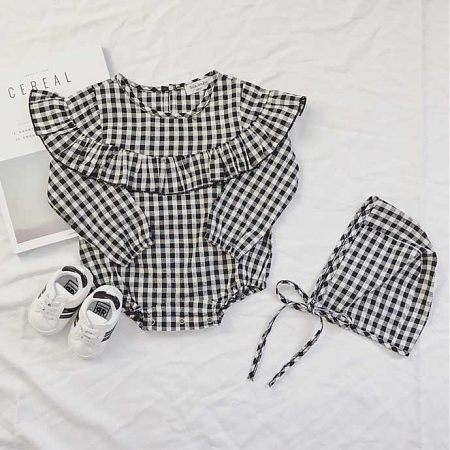 Plaid Flounce Trim Romper With Cap