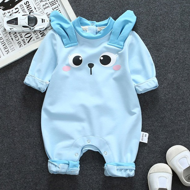 Cartoon Bunny Long Sleeve Cotton Romper