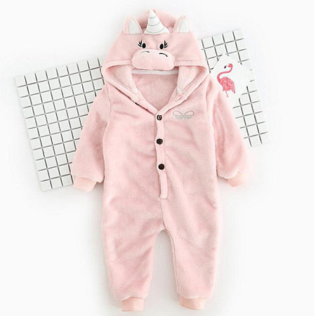Cartoon Animal Button Front Romper