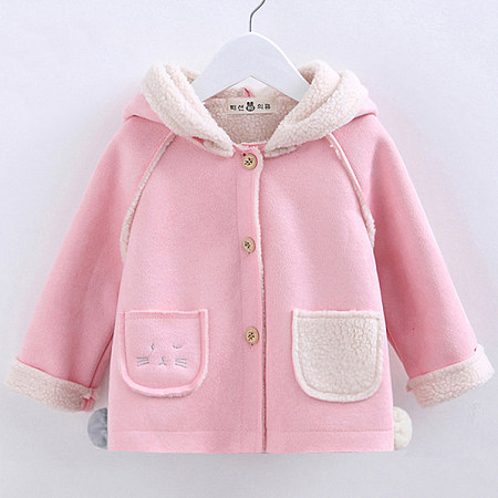 Thickened Button Pompon Cartoon Pattern Hooded Outerwear