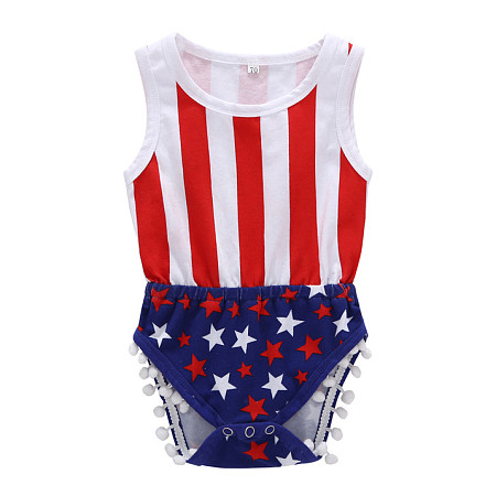 Buy Star Prints Stripes Pompon Decorated Romper, red, RL18053114 for $13.76 in Popreal store