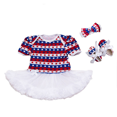 Star Prints Stripes Tulle Patchwork Romper With Headband And Shoes