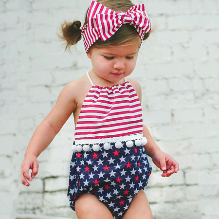 Buy Star Prints Stripes Pompon Decorated Romper With Headband, red, RL18060413 for $13.76 in Popreal store
