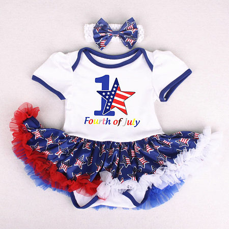 Star Stripes Letters Pattern Tulle Patchwork Romper With Headband