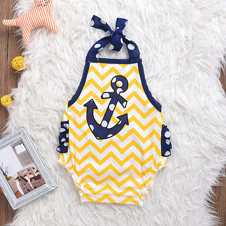 Anchor Pattern Boys Girls Rompers