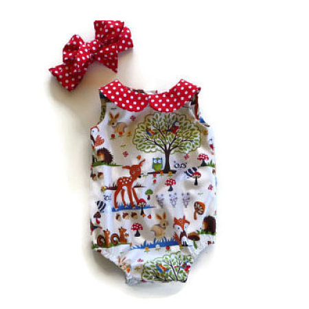 Animals Pattern Girls Rompers With Headband