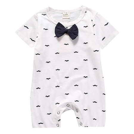 Boys Girls Moustache Pattern Bowknot Rompers