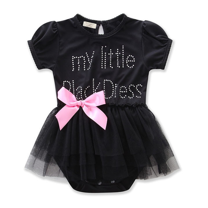 Letter Print Bowknot Tulle Rompers
