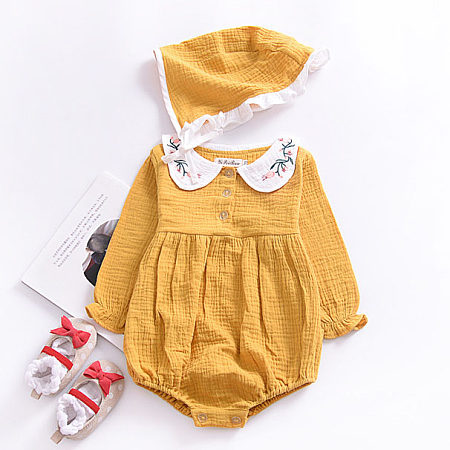 Embroidered Doll Collar Rompers With Cap