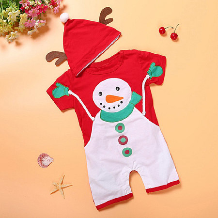Christmas Snowman Pattern Rompers With Cap