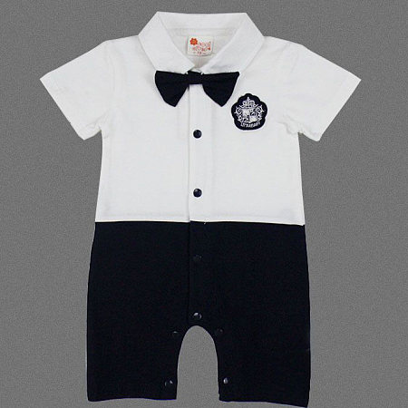 Little Gentleman Bowtie Romper, white, RR18031301