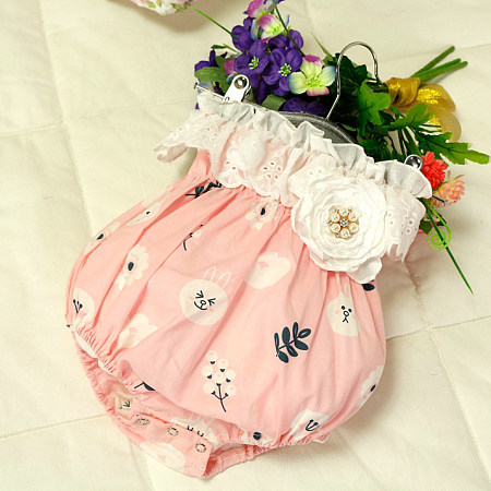 Flower Decorated Bunny And Botanical Print Romper