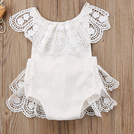 Lace Solid Color Sleeveless  Romper
