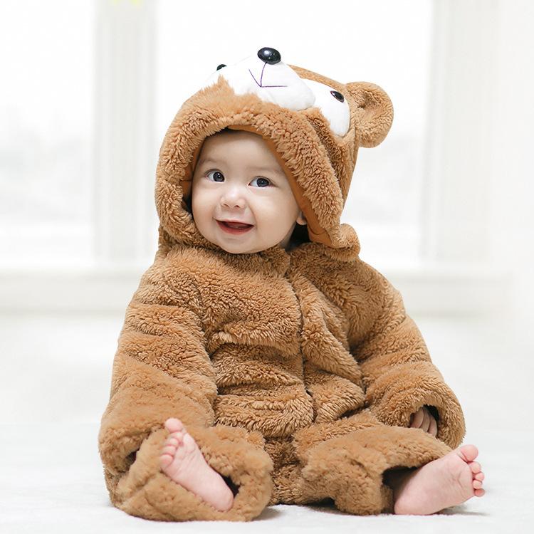 Cartoon Bear Hooded Thickened Romper