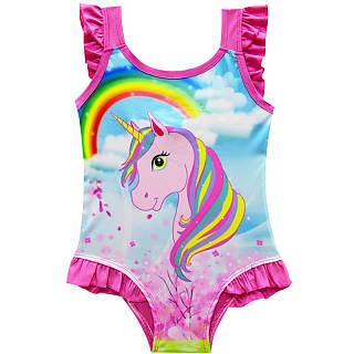 Ruffle Trim Unicorn Print One Piece Swimwear d362623f8