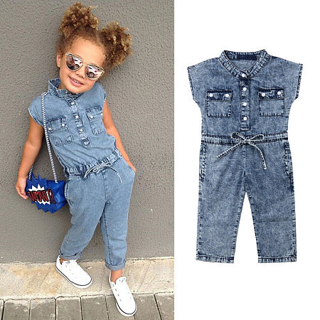 Denim Bowknot Sleeveless Romper