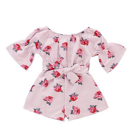 Rose Print Bell Sleeve Stripe Jumpsuits