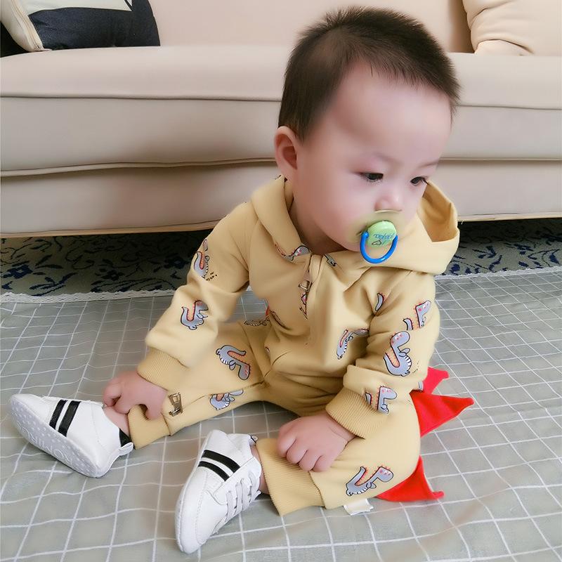 Cartoon Dinosaur Hooded Baby Romper