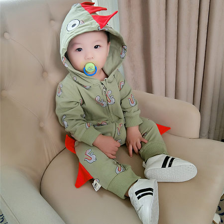 Cartoon Dinosaur Hooded Baby Romper