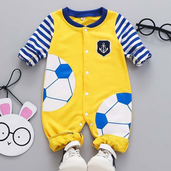 Stripes Football Pattern Button Up Romper