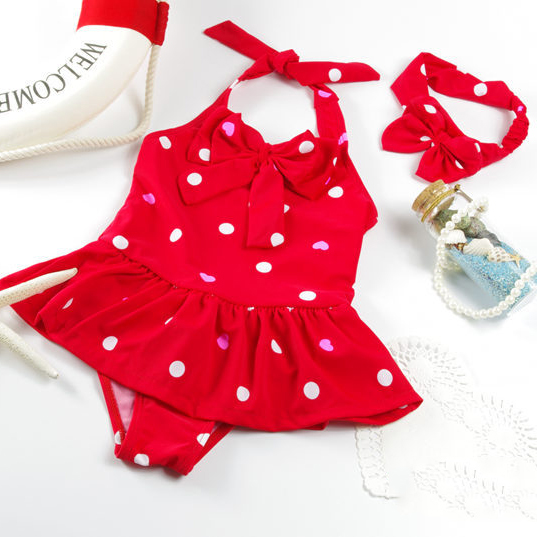 Red Polka Dots Girls Swimming Jumpsuit