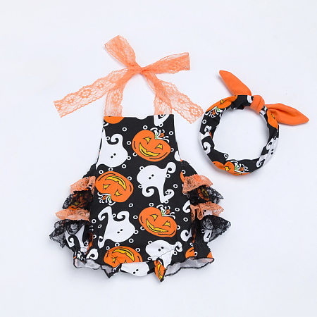 Pumpkin Prints Baby Halloween Romper With Hairband