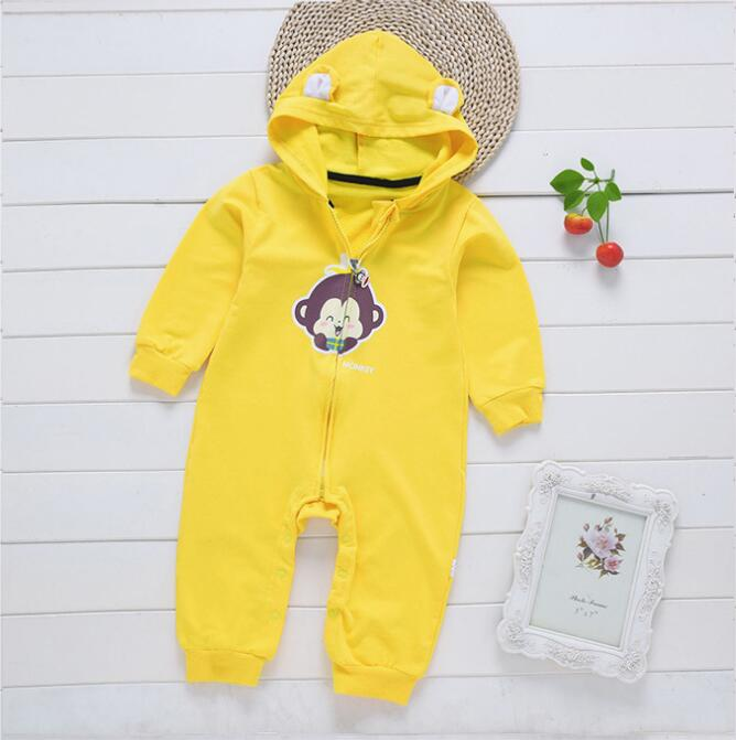 Short Ears Monkey Pattern Zipper Romper