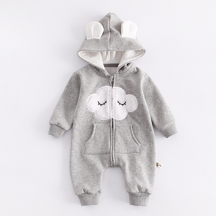 Baby Cloud Pattern Hooded Rompers
