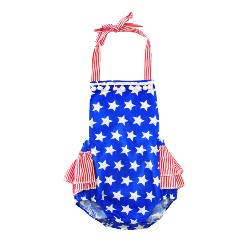Five-Pointed Star Prints Contrast Color Rompers