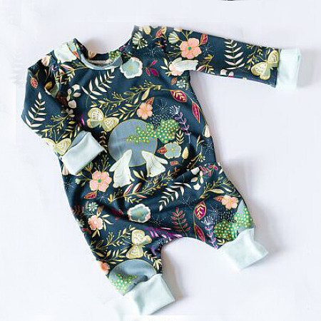 Bunny And Moon Pattern Boys Girls Romper