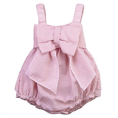 Bowknot Stripe Baby Girls Romper