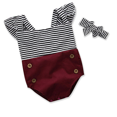Fly Sleeves Stripe Romper With Headband