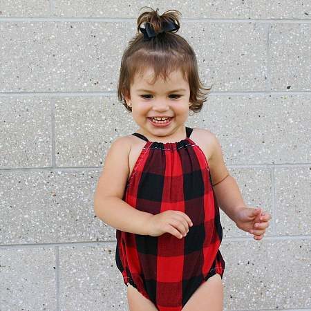 Black Red Grid Tie Summer Romper