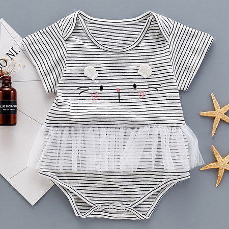 Stripe Kitty Face Ornament Tulle Patchwork Romper