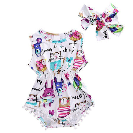 Cartoon Animals Print Pompon Ornament Romper With Hairband
