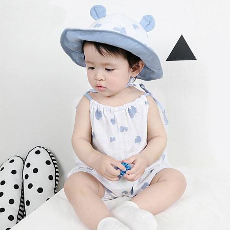 Blue Butterfly Sleeveless Elastic Collar Romper