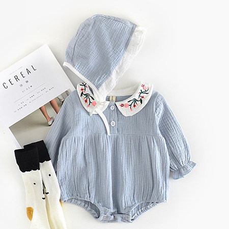 Floral Embroidered Doll Collar Buckle Romper With Cap